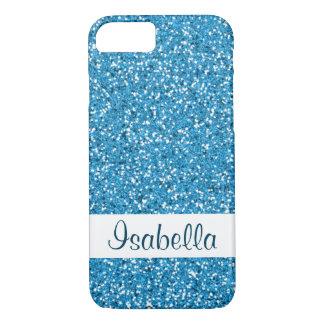 Fake Blue Glitter Pattern Look-like & Custom Name iPhone 8/7 Case