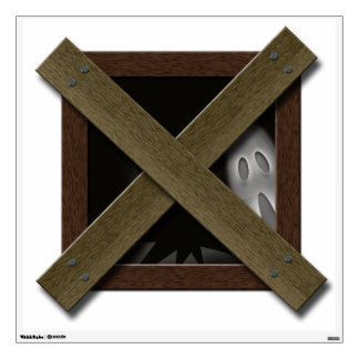 Fake Boarded Up Window Halloween Haunted House Wall Sticker