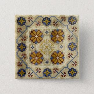Fake cross stitch embroidered button