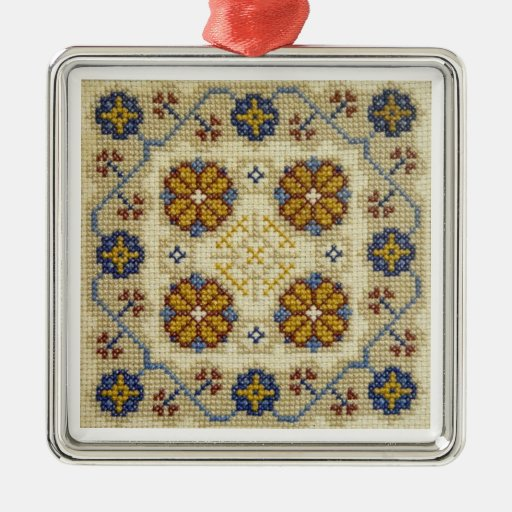 Fake cross stitch embroidered Christmas ornament