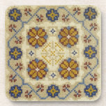 Fake cross stitch embroidered coaster