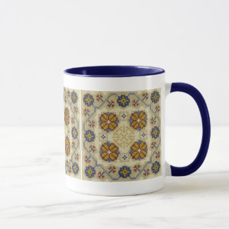 Fake cross stitch embroidered mug