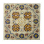Fake cross stitch embroidered tile
