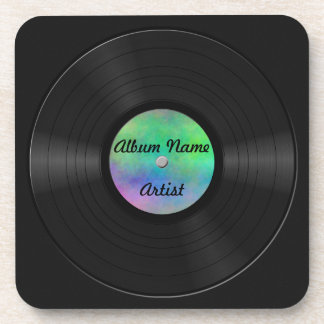 Fake Custom Vinyl Record Beverage Coaster