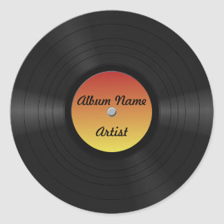 Fake Custom Vinyl Record Classic Round Sticker