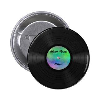 Fake Custom Vinyl Record Pinback Button
