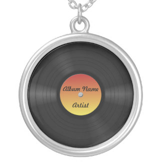 Fake Custom Vinyl Record Silver Plated Necklace