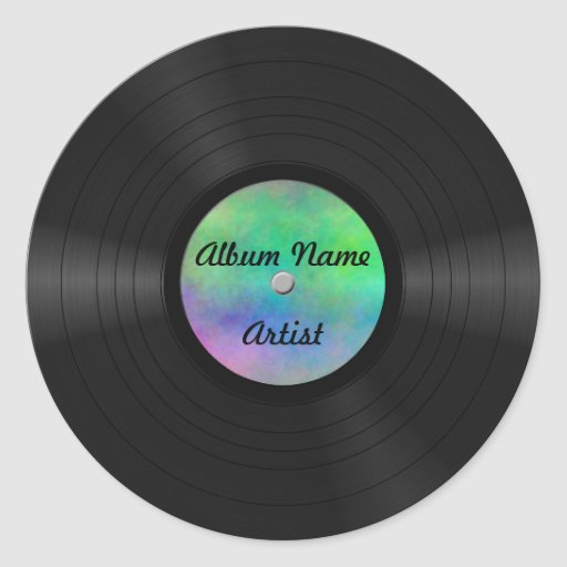 Fake Custom Vinyl Record Round Stickers