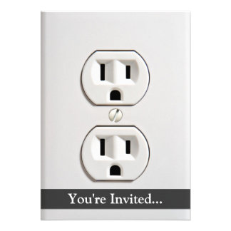 Fake Electrical Outlet Custom Invites