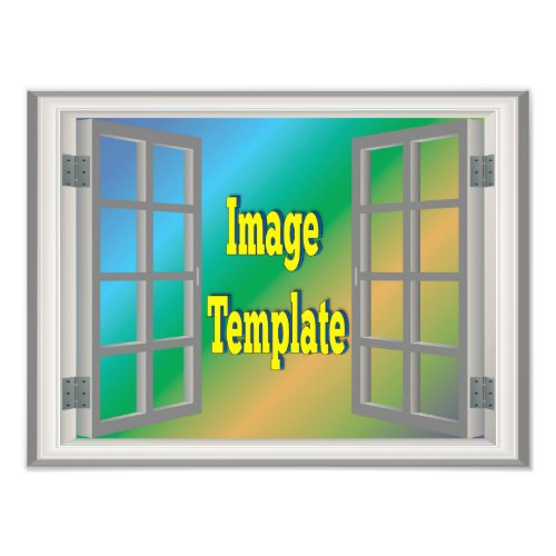 Fake Faux Window View White Gray Create Your Own Photo Print