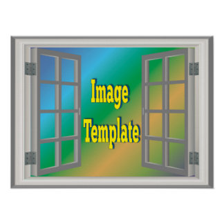 Fake Faux Window White Gray Create Your Own Poster