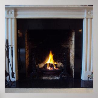Fake fireplace print