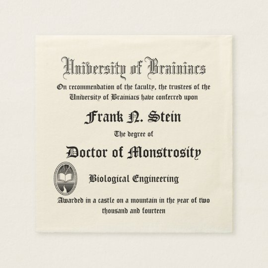 Fake Frankenstein Diploma Napkin