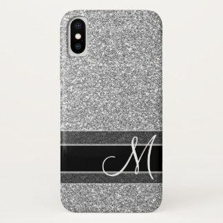 Fake Glitter Pattern with Monogram - Silver Black iPhone X Case