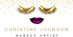 fake gold eyelashes and glam lips business card - Fake Business Cards