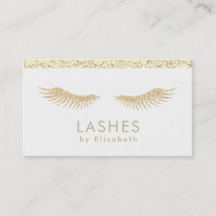 fake gold glitter eyelashes extensions business card - Fake Business Cards