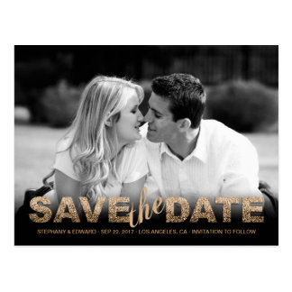 Fake Gold Glitter Save the Date Photo Postcard