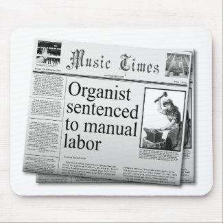 Fake headlines about organist
