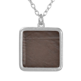 Fake Leather Design Silver Plated Necklace
