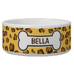 Fake Leopard Print With Bone And Name Dog Bowls