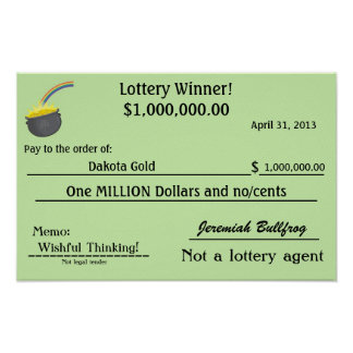 Fake lottery check pot of gold poster