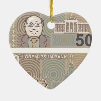 Fake money 50 and 10 ceramic ornament
