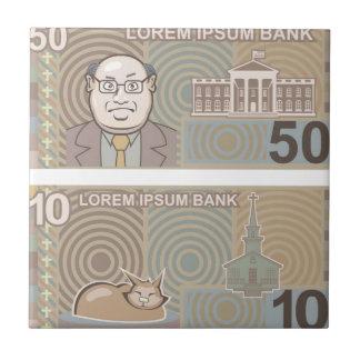 Fake money 50 and 10 ceramic tile