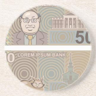 Fake money 50 and 10 coaster