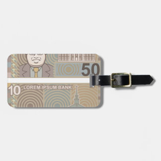 Fake money 50 and 10 luggage tag