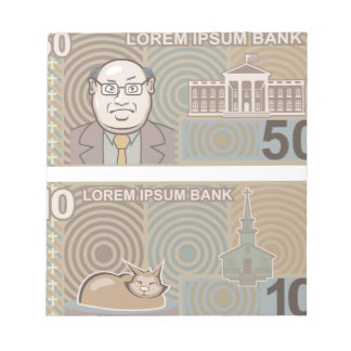 Fake money 50 and 10 notepad
