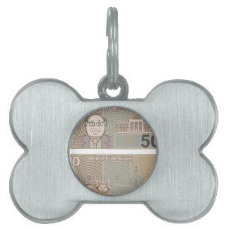 Fake money 50 and 10 pet tag