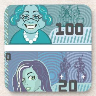 Fake Money Grandma 100 and Girl 20 vector Beverage Coaster