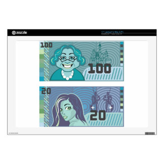 Fake Money Grandma 100 and Girl 20 vector Decals For Laptops