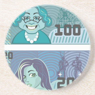 Fake Money Grandma 100 and Girl 20 vector Drink Coaster