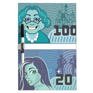 Fake Money Grandma 100 and Girl 20 vector Dry Erase Board