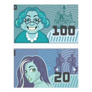 Fake Money Grandma 100 and Girl 20 vector Letterhead