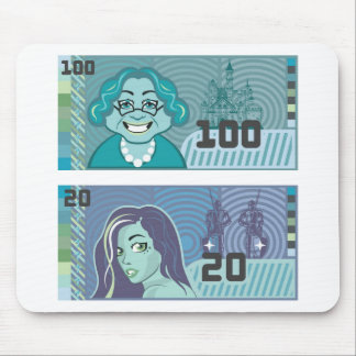 Fake Money Grandma 100 and Girl 20 vector Mouse Pad