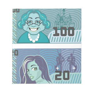 Fake Money Grandma 100 and Girl 20 vector Notepad