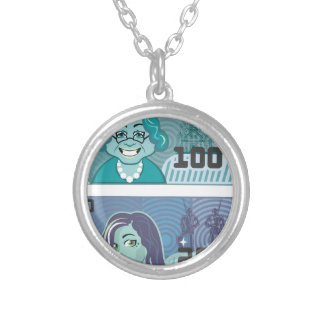 Fake Money Grandma 100 and Girl 20 vector Silver Plated Necklace