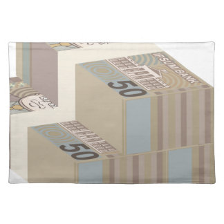 Fake money stacks placemat