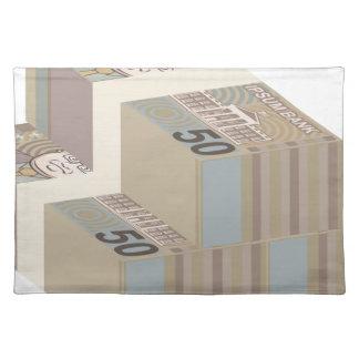 Fake money stacks placemat