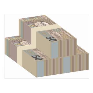 Fake money stacks postcard