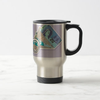 Fake Money Under Magnifying glass Vector 15 Oz Stainless Steel Travel Mug