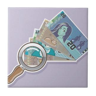 Fake Money Under Magnifying glass Vector Ceramic Tile