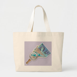 Fake Money Under Magnifying glass Vector Large Tote Bag