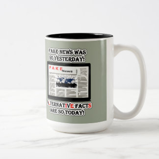 Fake News and Alternative Facts 15 oz Two-Tone Mug