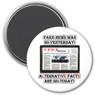 Fake News and Alternative Facts Round Magnet