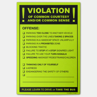 Fake Parking Ticket Driving Citation Post-it® Notes