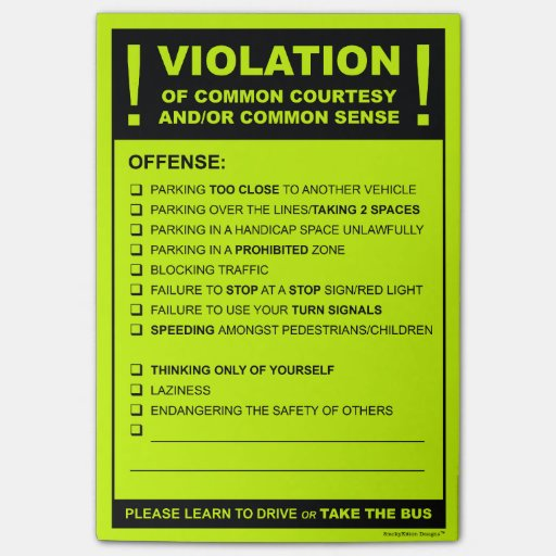 Fake Parking Ticket Driving Citation Post-it(r) Notes