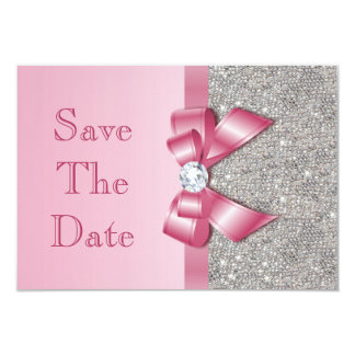 Fake Pink Bow Diamonds Save The Date Baby Shower Card
